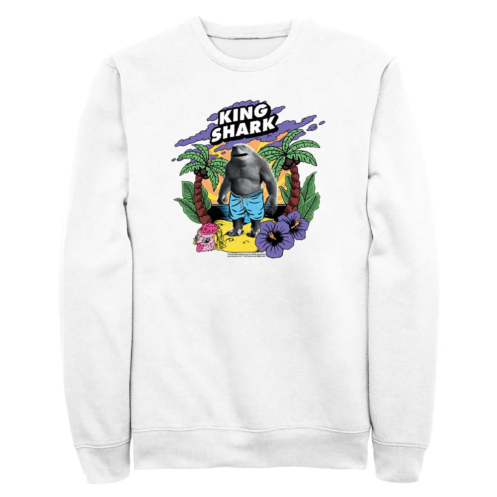 White THE SUICIDE SQUAD King Shark Tropical Crew Sweatshirt Image
