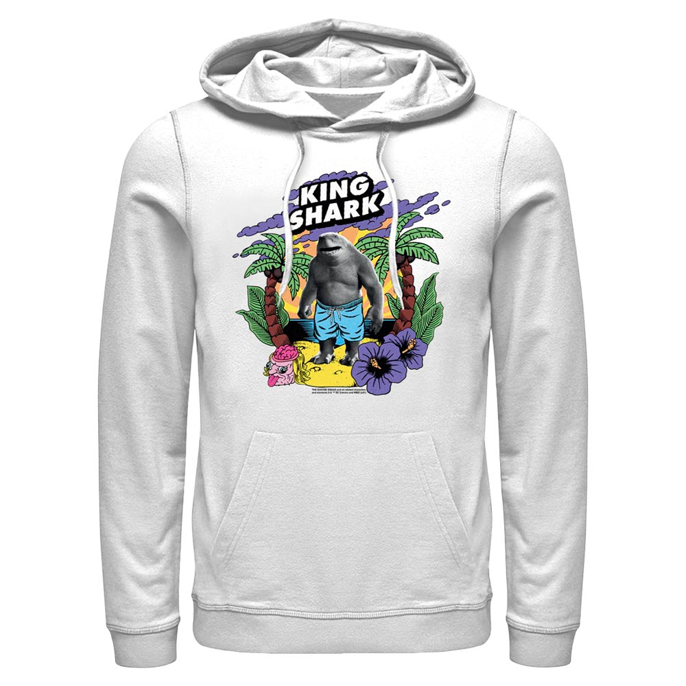 White THE SUICIDE SQUAD King Shark Tropical Hoodie Image