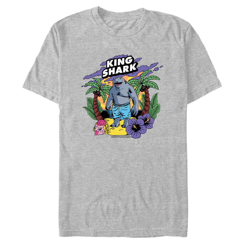 Grey Heather THE SUICIDE SQUAD King Shark Tropical T-Shirt Image