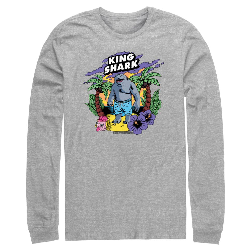 Grey Heather THE SUICIDE SQUAD King Shark Tropical Long Sleeve Tee Image