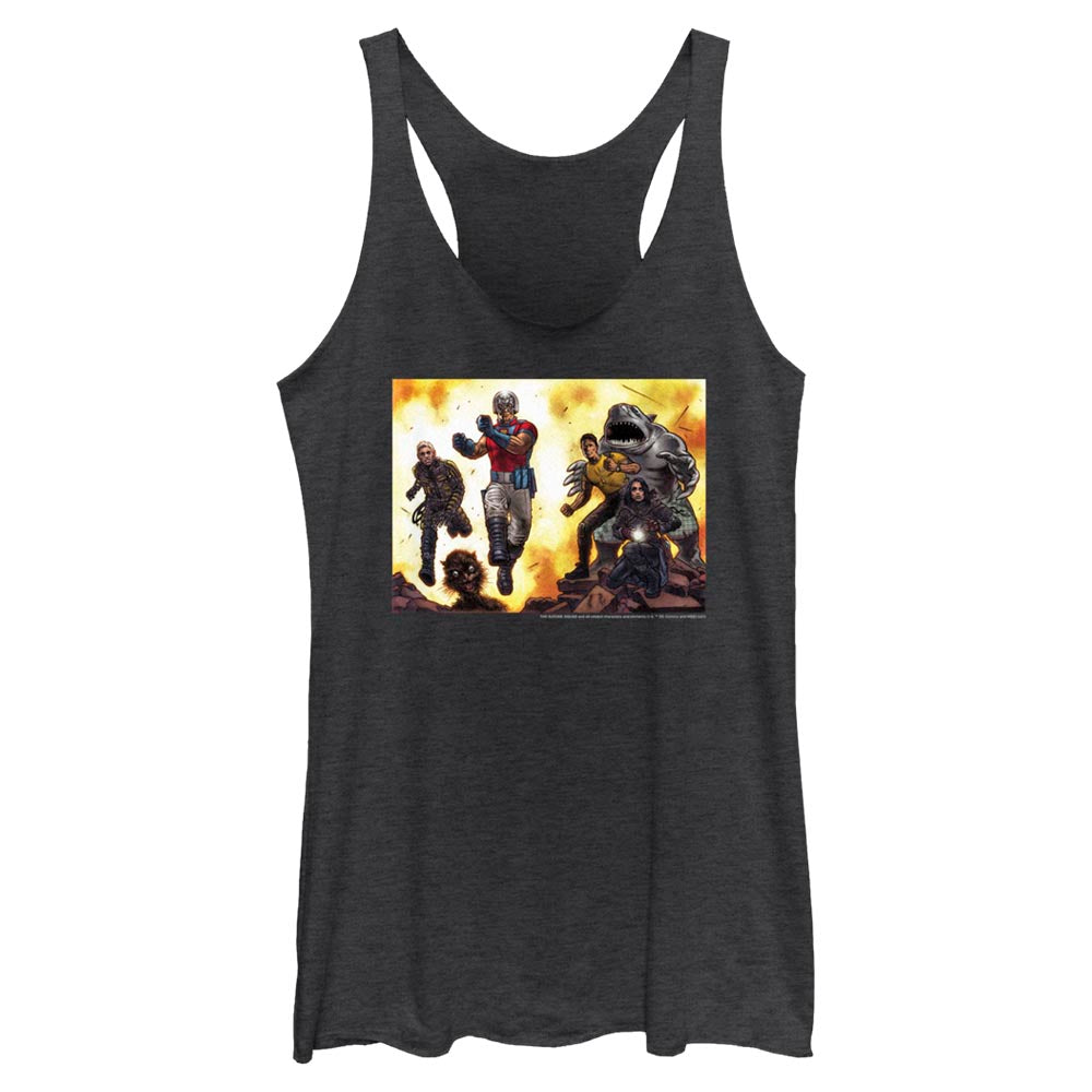 Black Heather THE SUICIDE SQUAD Illustrated Women's Racerback Tank Image