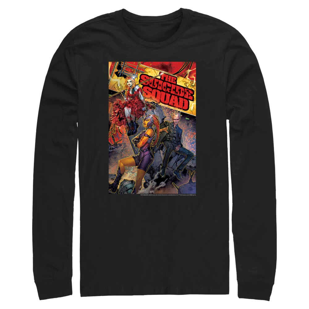 Black THE SUICIDE SQUAD Comic Long Sleeve Tee Image