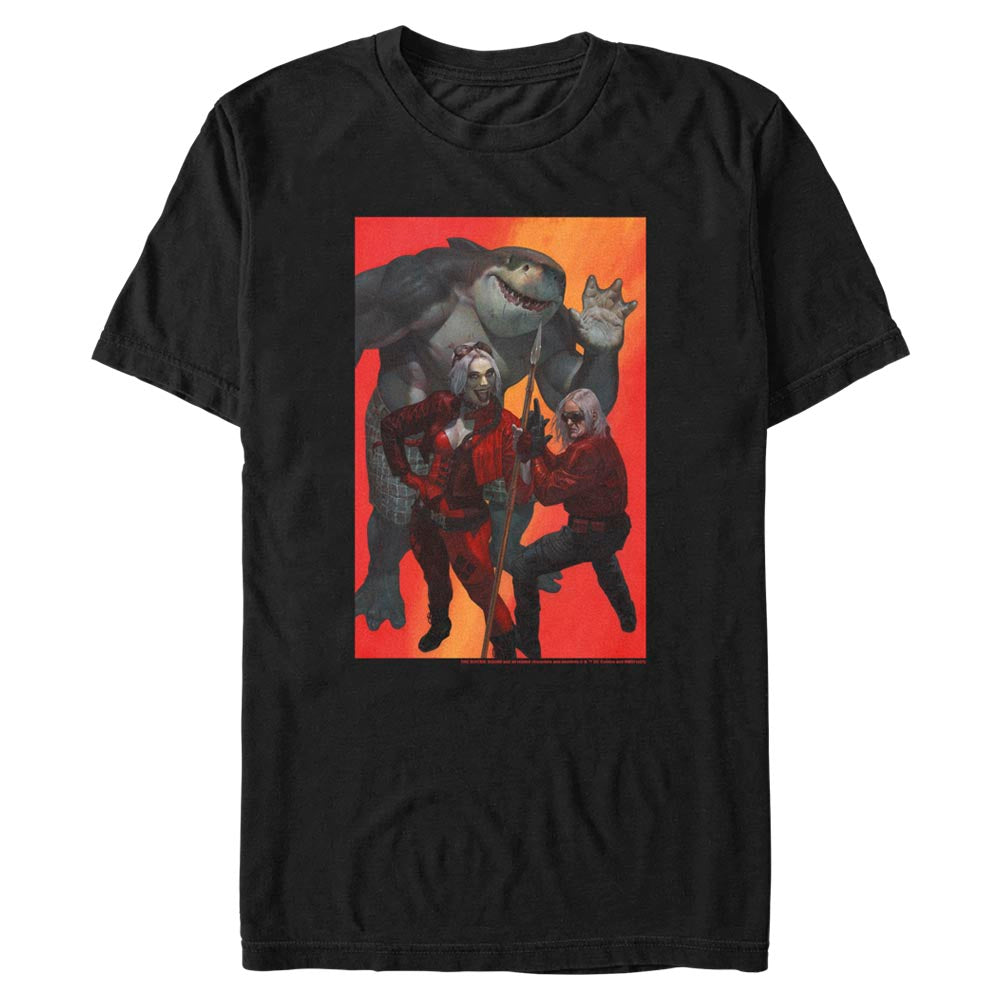 Black THE SUICIDE SQUAD Harley Quinn, King Shark, and Savant T-Shirt Image