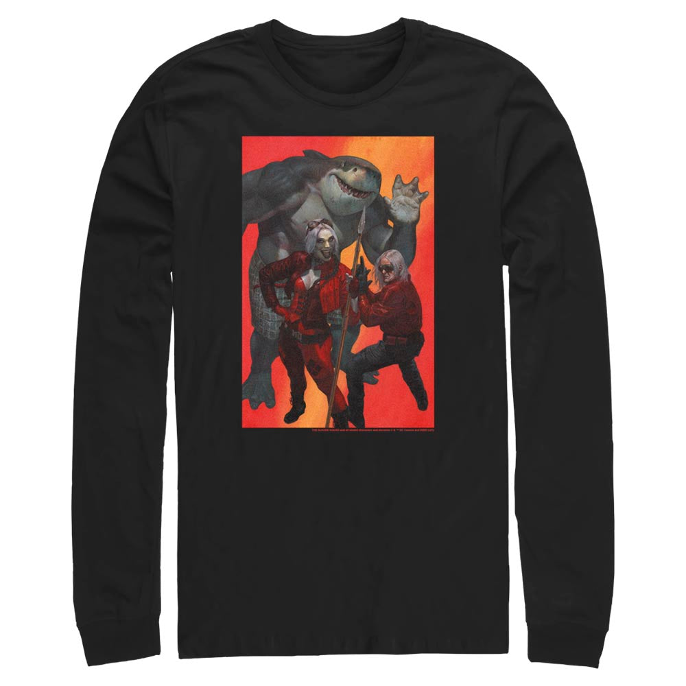 Black THE SUICIDE SQUAD Harley Quinn, King Shark, and Savant Long Sleeve Tee Image