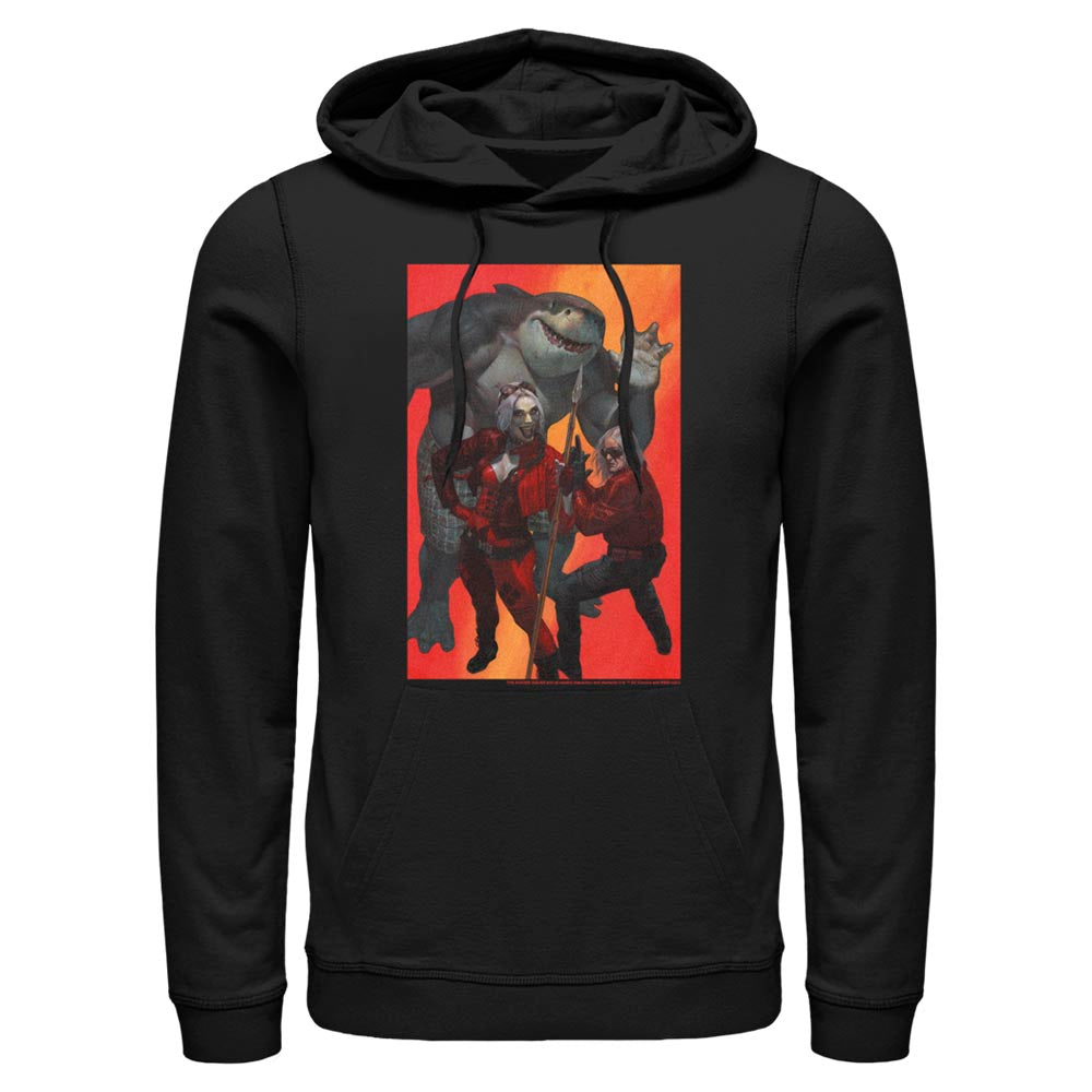 Black THE SUICIDE SQUAD Harley Quinn, King Shark, and Savant Hoodie Image