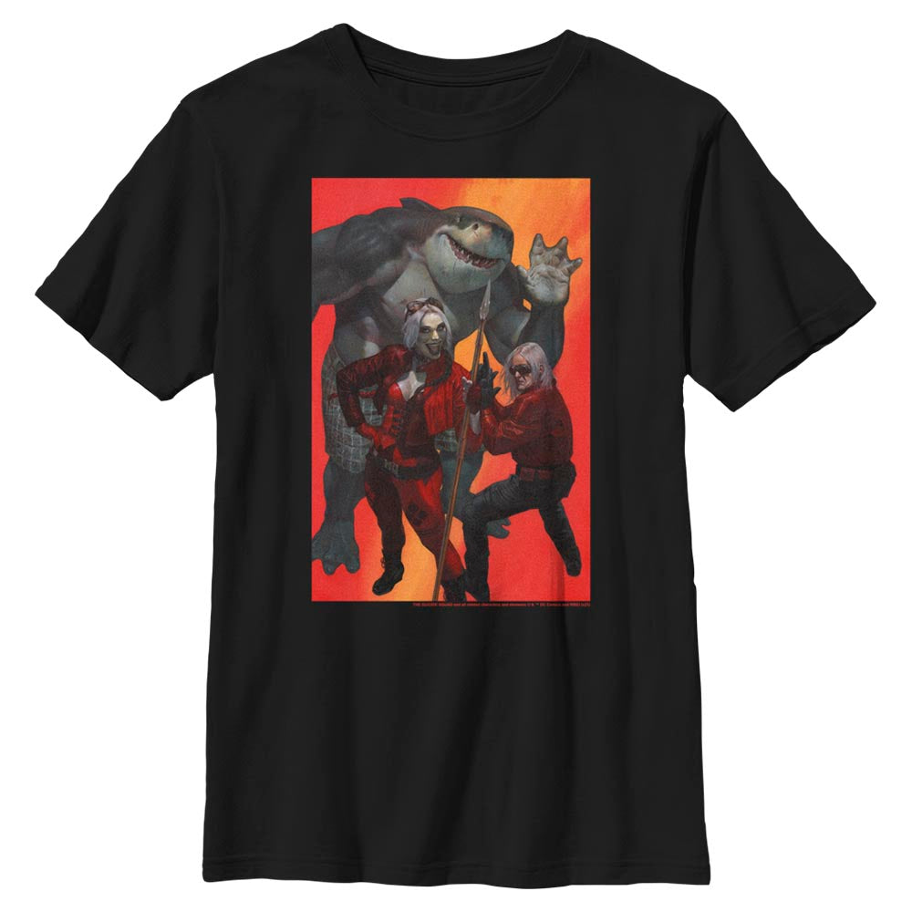 Black THE SUICIDE SQUAD Harley Quinn, King Shark, and Savant Kids' T-Shirt Image