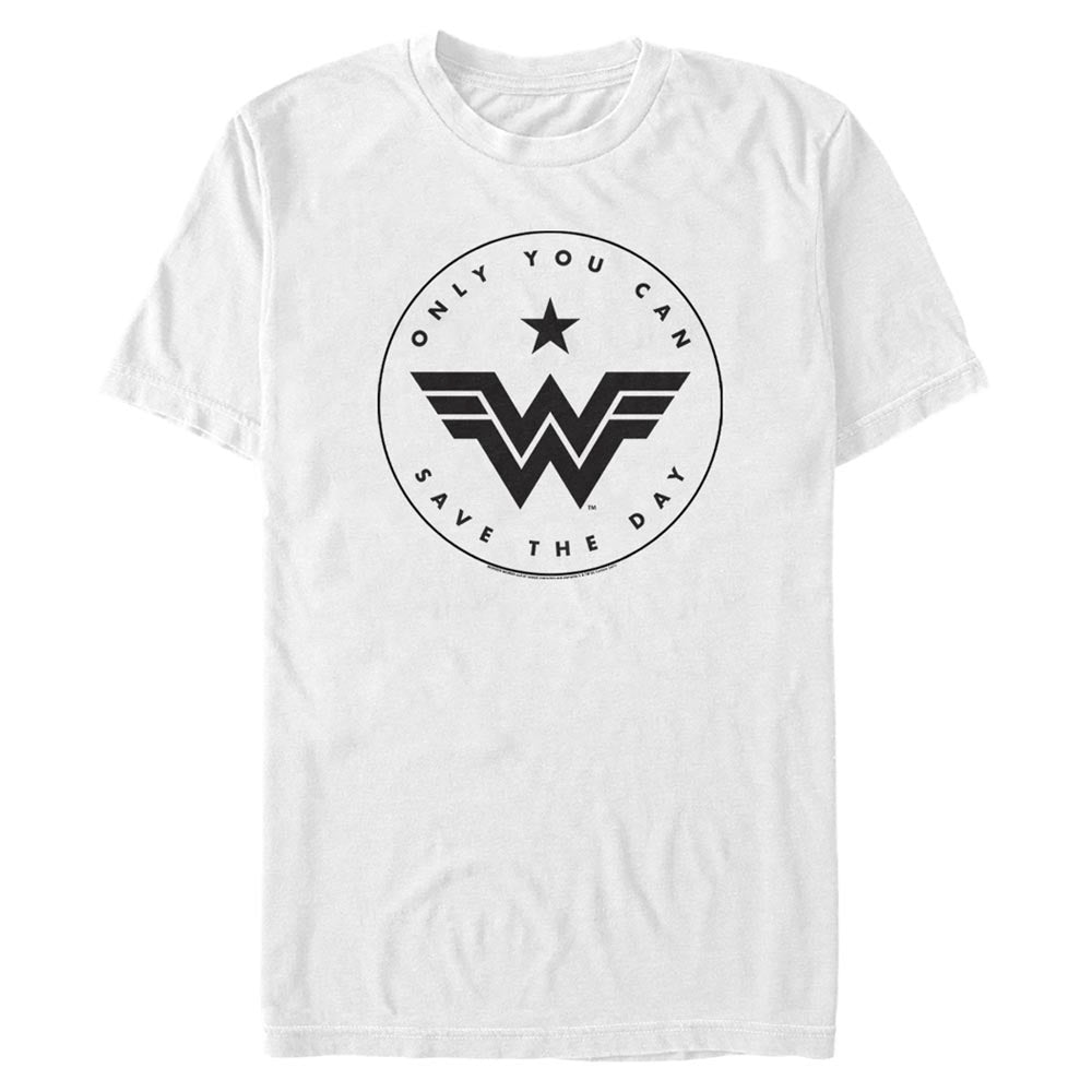 White WONDER WOMAN Only You Can Save the Day T-Shirt Image