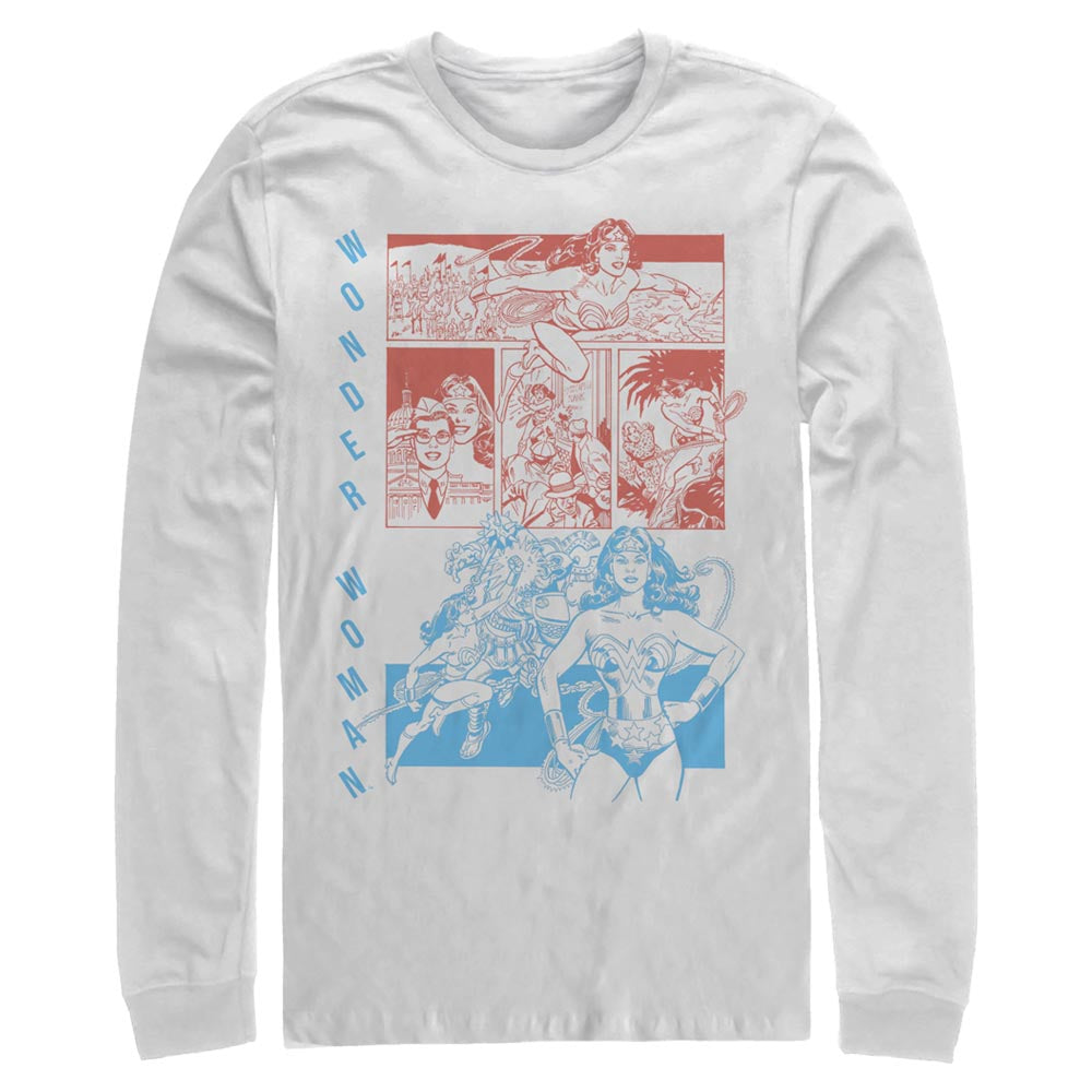 WONDER WOMAN Red and Blue Comic Panels Long Sleeve Tee