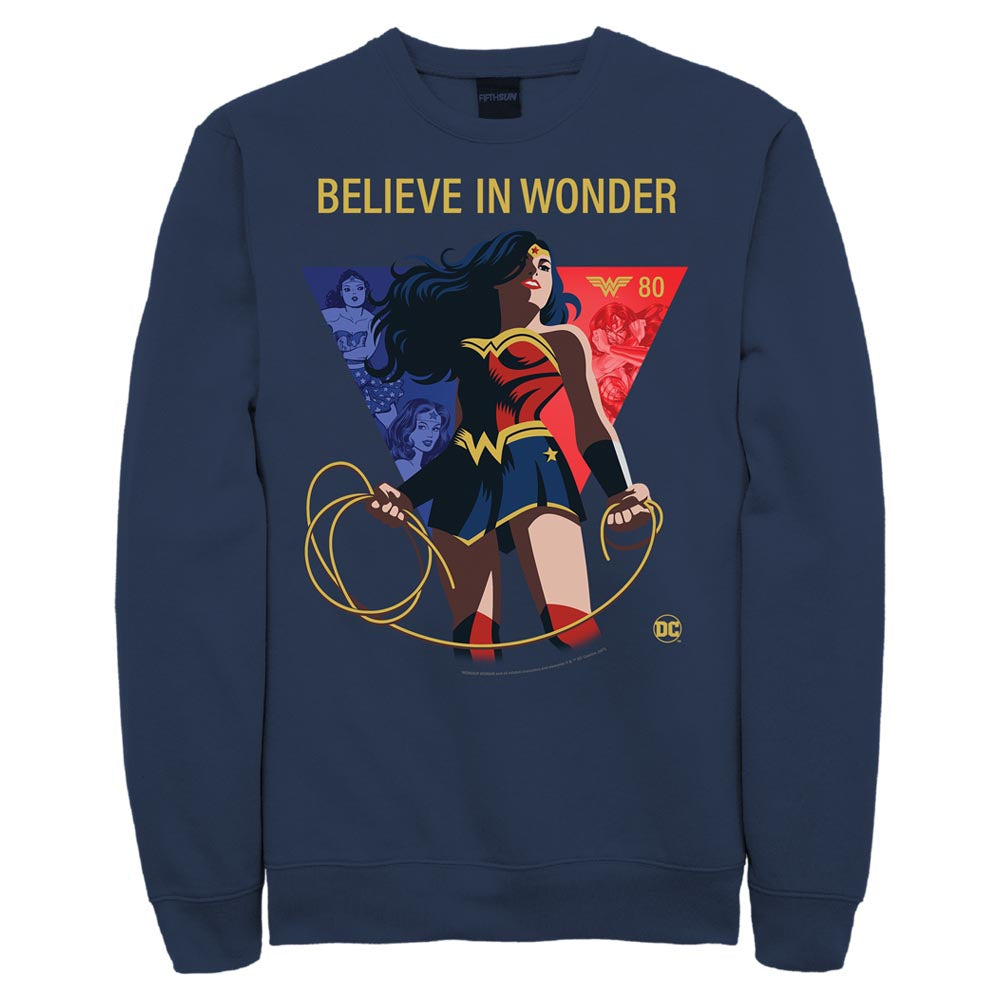 "WONDER WOMAN 80TH ANNIVERSARY ""Believe in Wonder"" Crew Sweatshirt"
