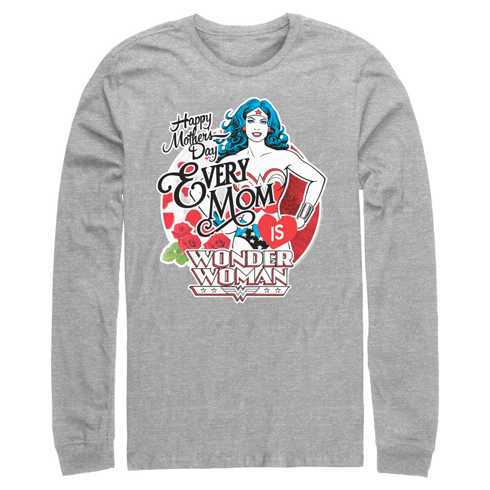 Grey Heather DC MOTHER'S DAY Every Mom is Wonder Woman Long Sleeve Tee Image