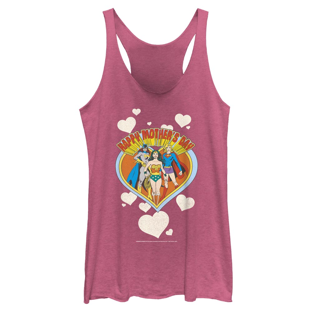 Pink Heather DC MOTHER'S DAY Heart Women's Racerback Tank Image