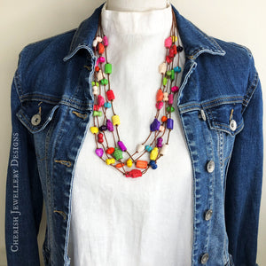 5 strand Rainbow Howlite Turtle Love Necklace