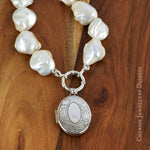 XL Baroque Pearl Necklace with SS Locket Pendant