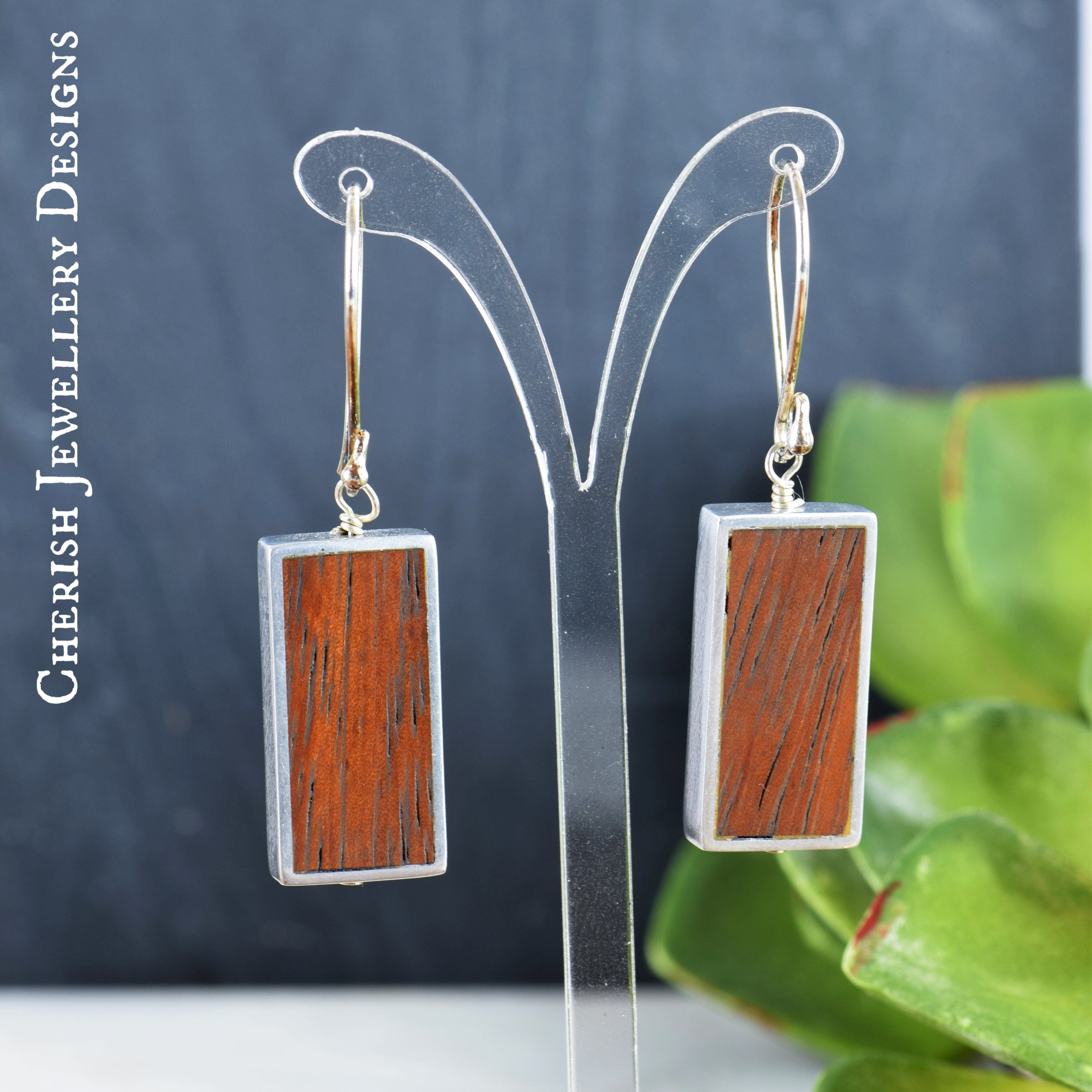 Bayong Rectangular Framed Earrings