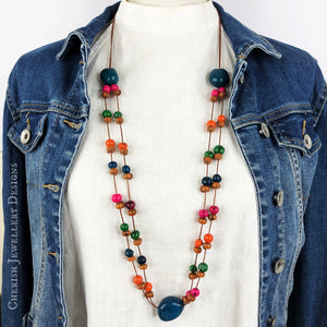 Bayong Wood and Acai Bead Double Necklace