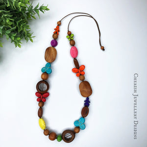 Bayong Wood with Rainbow Howlite Butterflies & Flowers