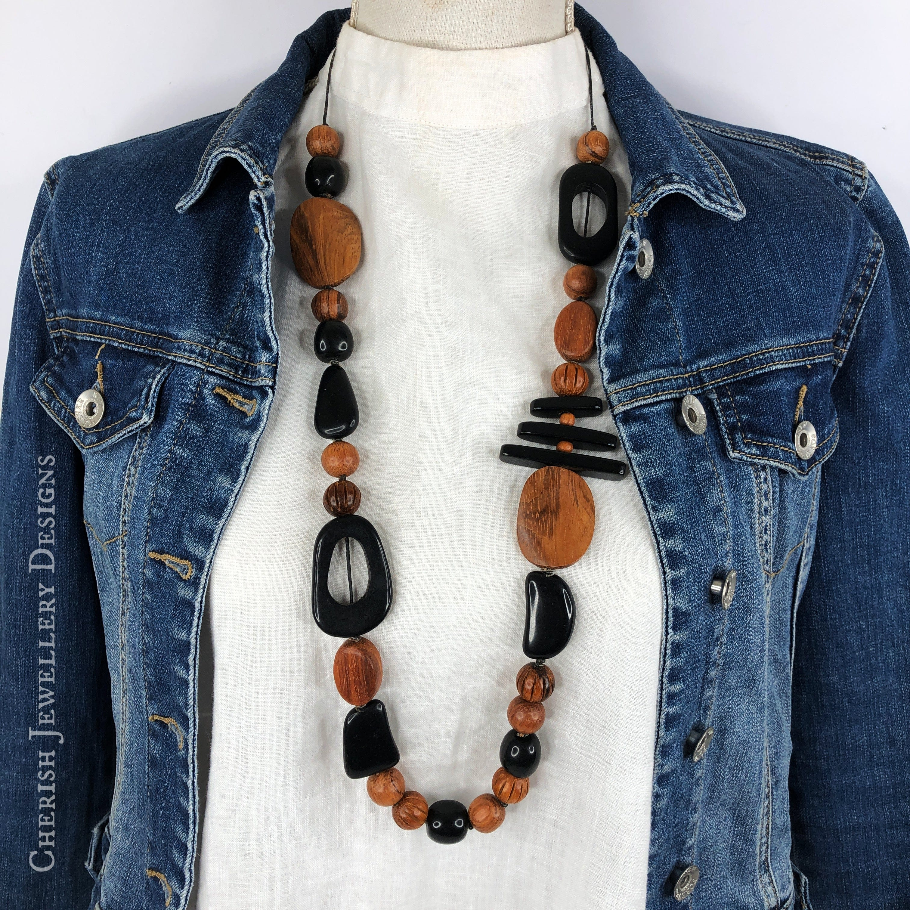 Bayong Wood with Black Resin Necklace