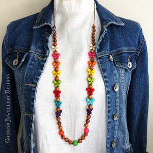 Bayong Timber & Rainbow Howlite Butterfly Necklace