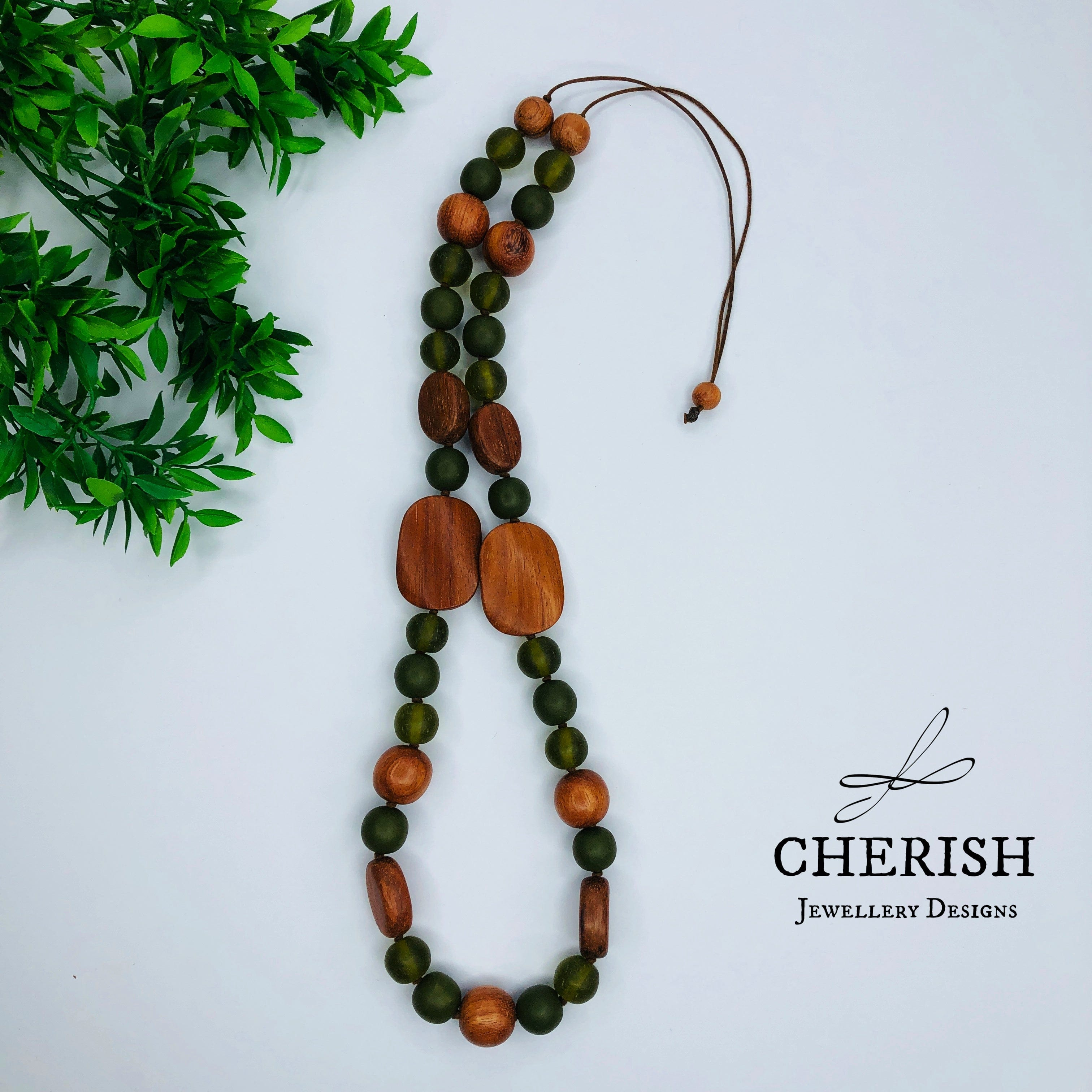 Bayong Wood with Olive Resin Necklace