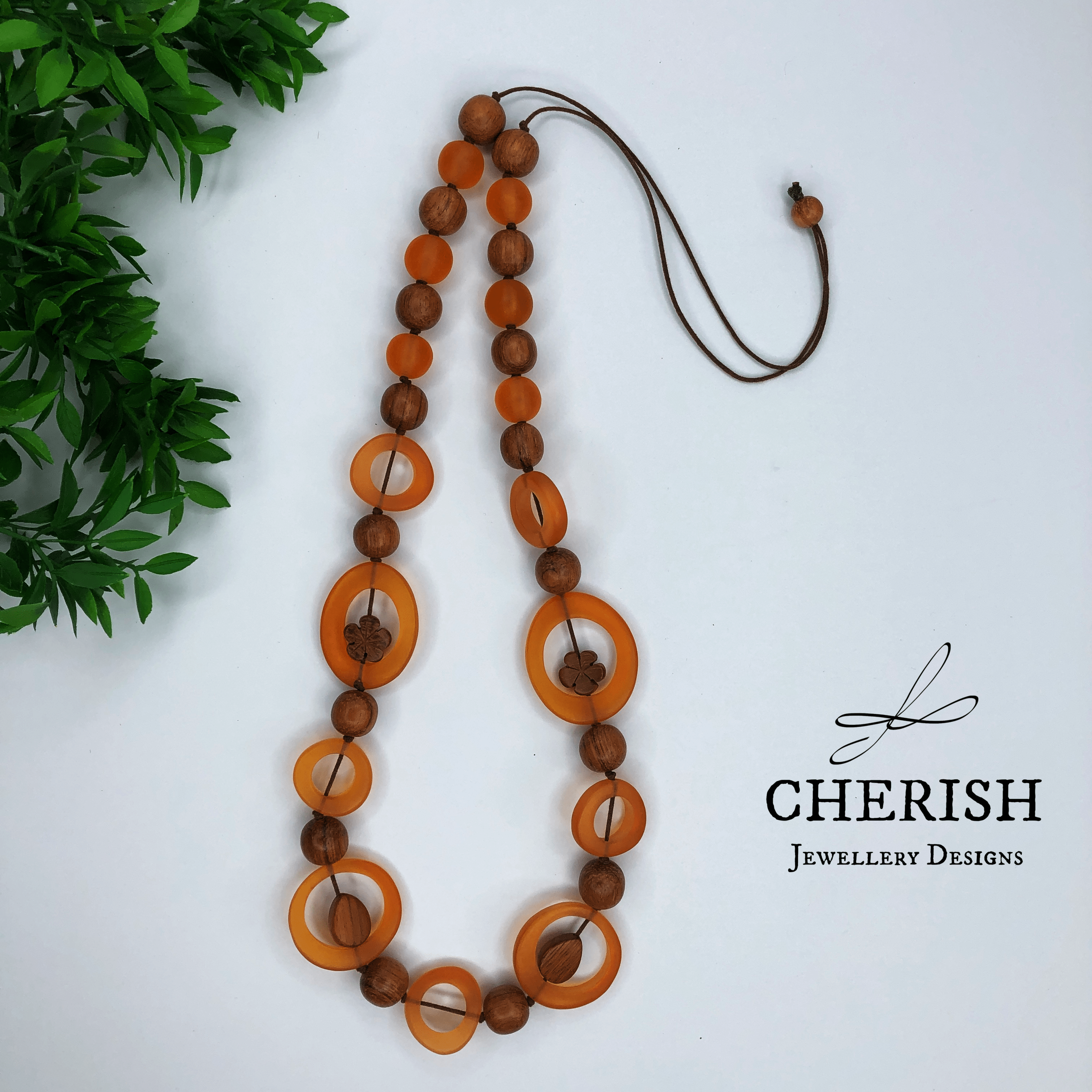 Bayong Wood with Orange Resin Necklace