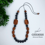 Bayong Wood with Slate Resin Necklace