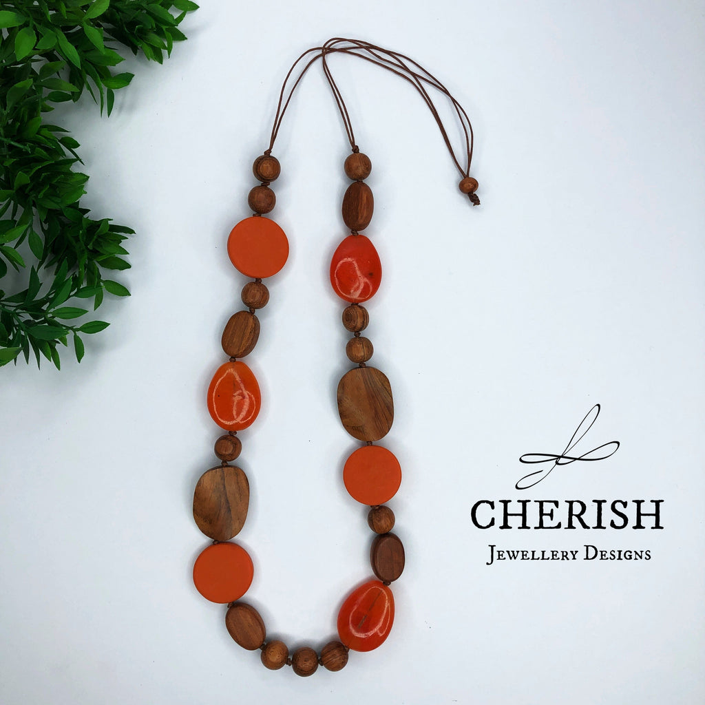 Bayong Wood with Solid Orange Resin Necklace