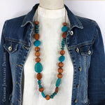 Bayong Wood with Teal Resin Necklace