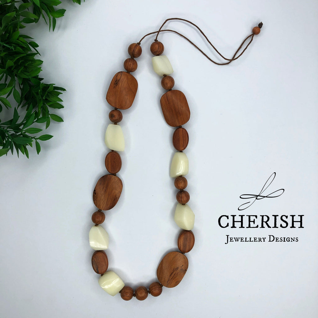 Bayong Wood with White Resin Necklace