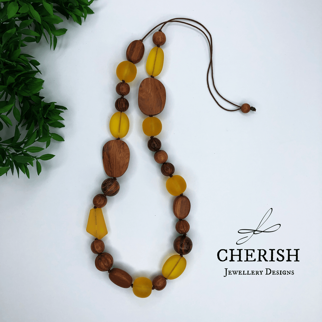 Bayong Wood with Yellow Resin Necklace