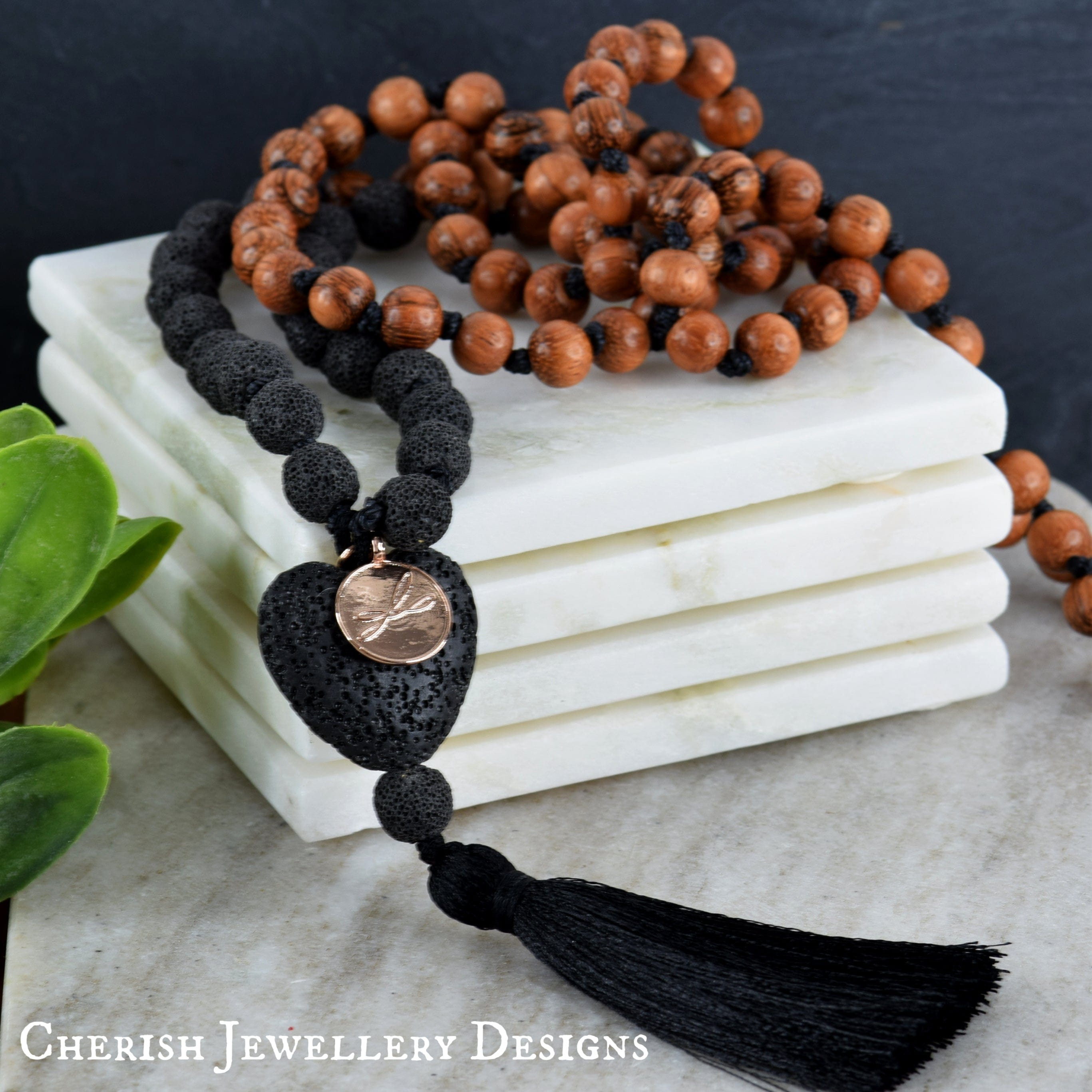 Lava Heart Mala Necklace - Black
