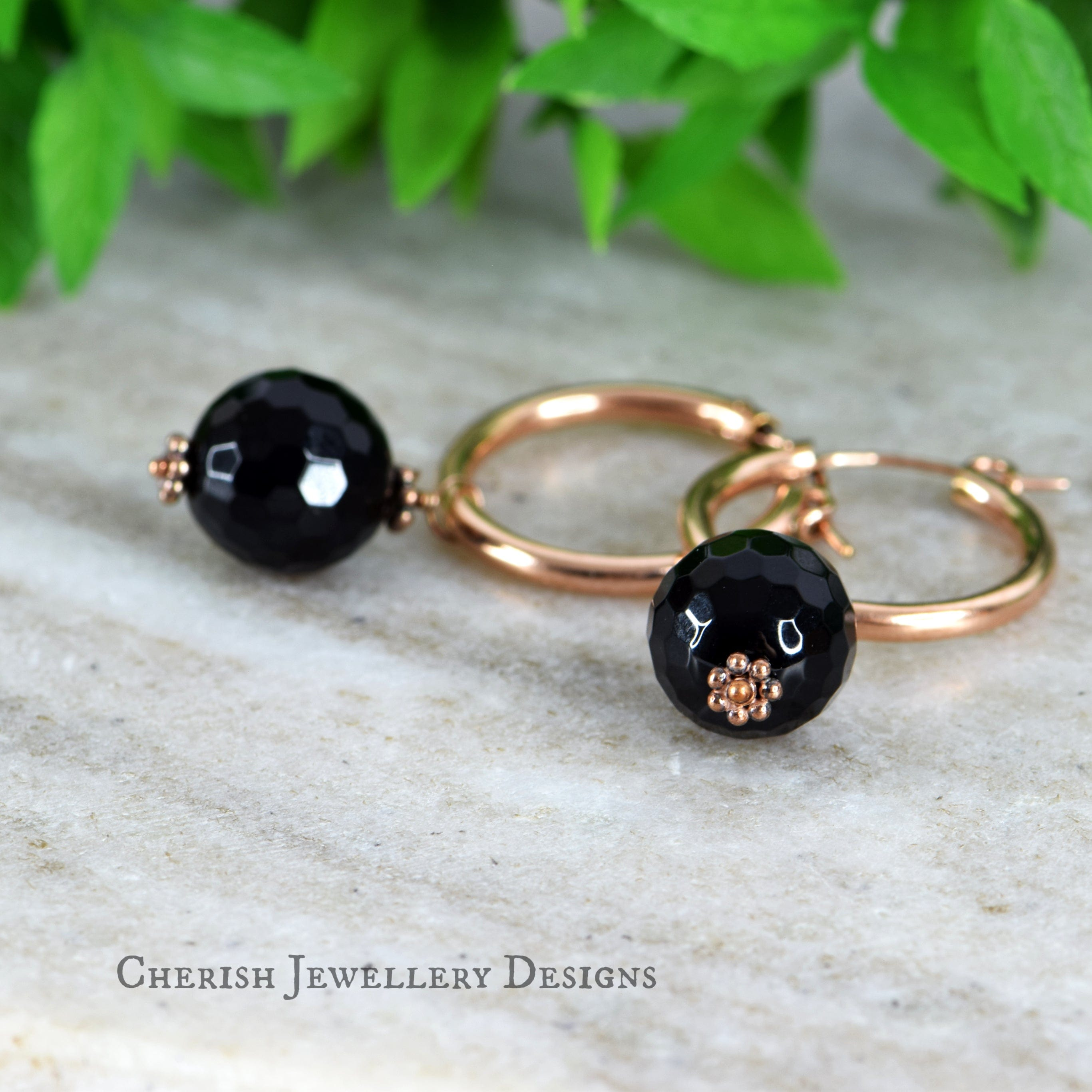 Black Onyx Med Hoop Earrings - Rose Gold