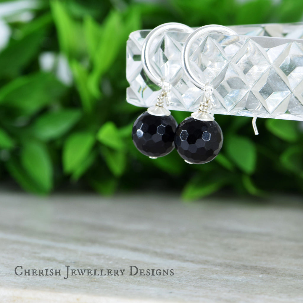 Black Onyx Sm Hoop Earrings - Sterling Silver