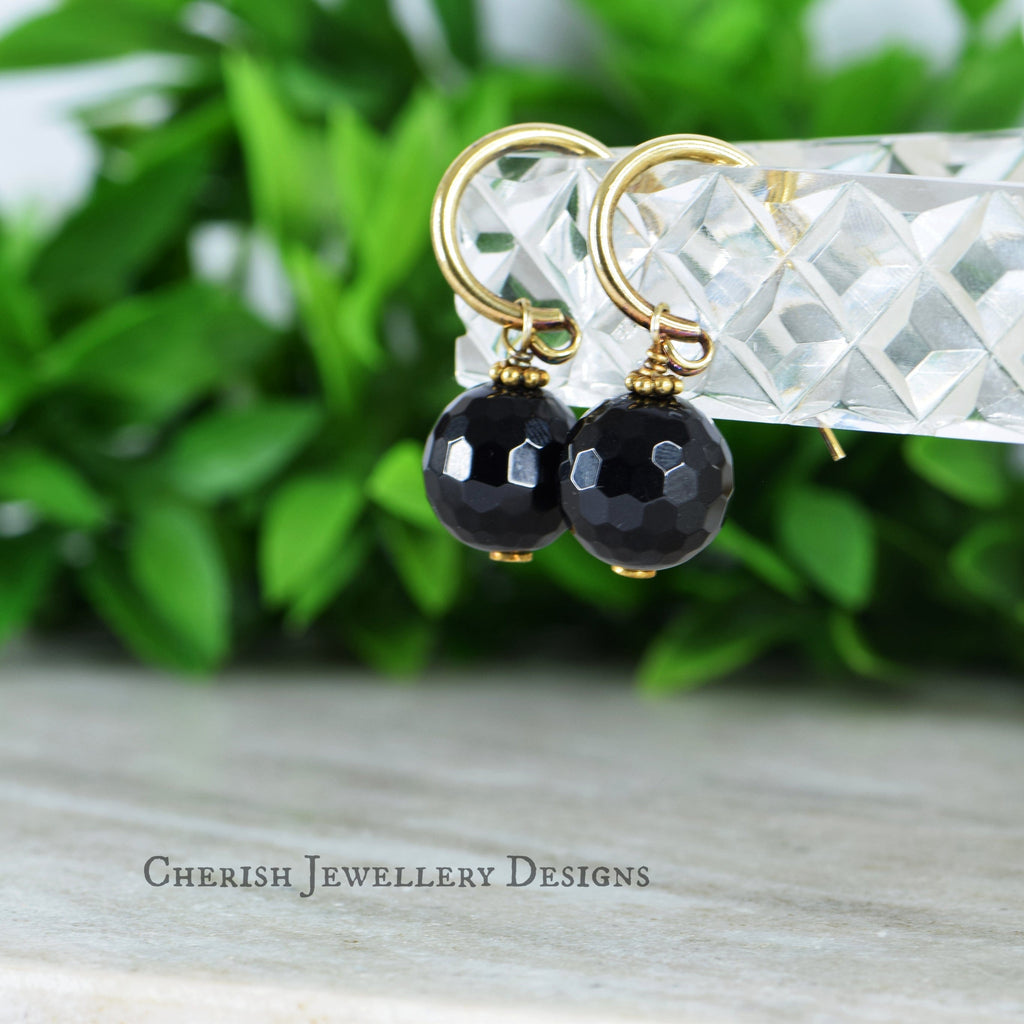 Black Onyx Sm Hoop Earrings - Vermeil Gold