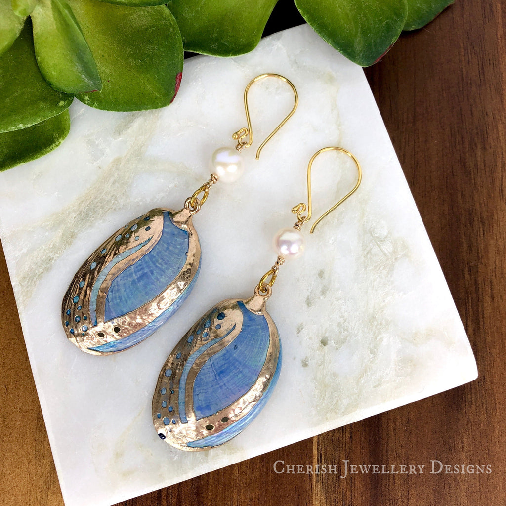 Blue Abalone & Pearl Earrings