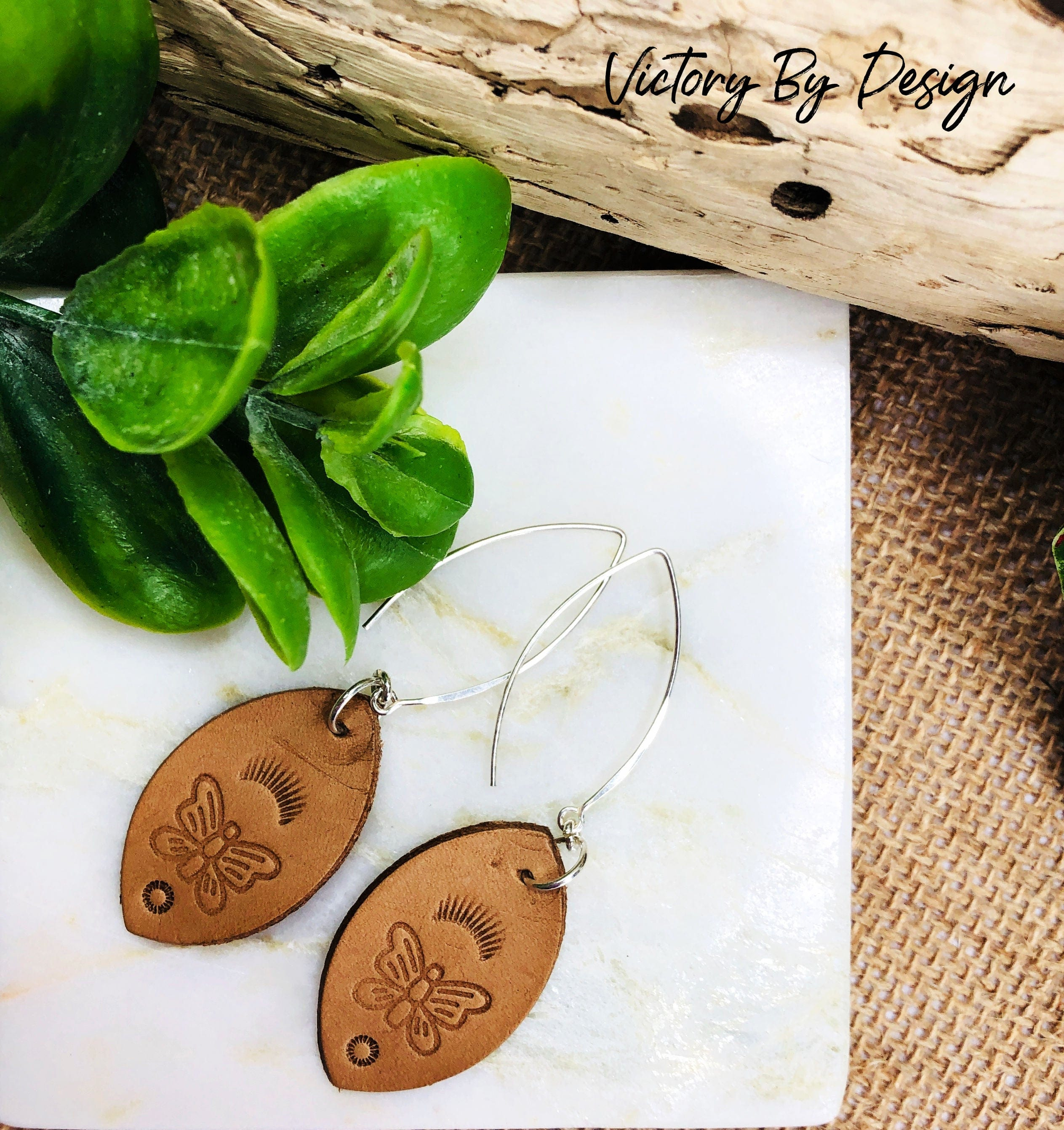 Lge Leaf Leather Earrings with Butterfly Design