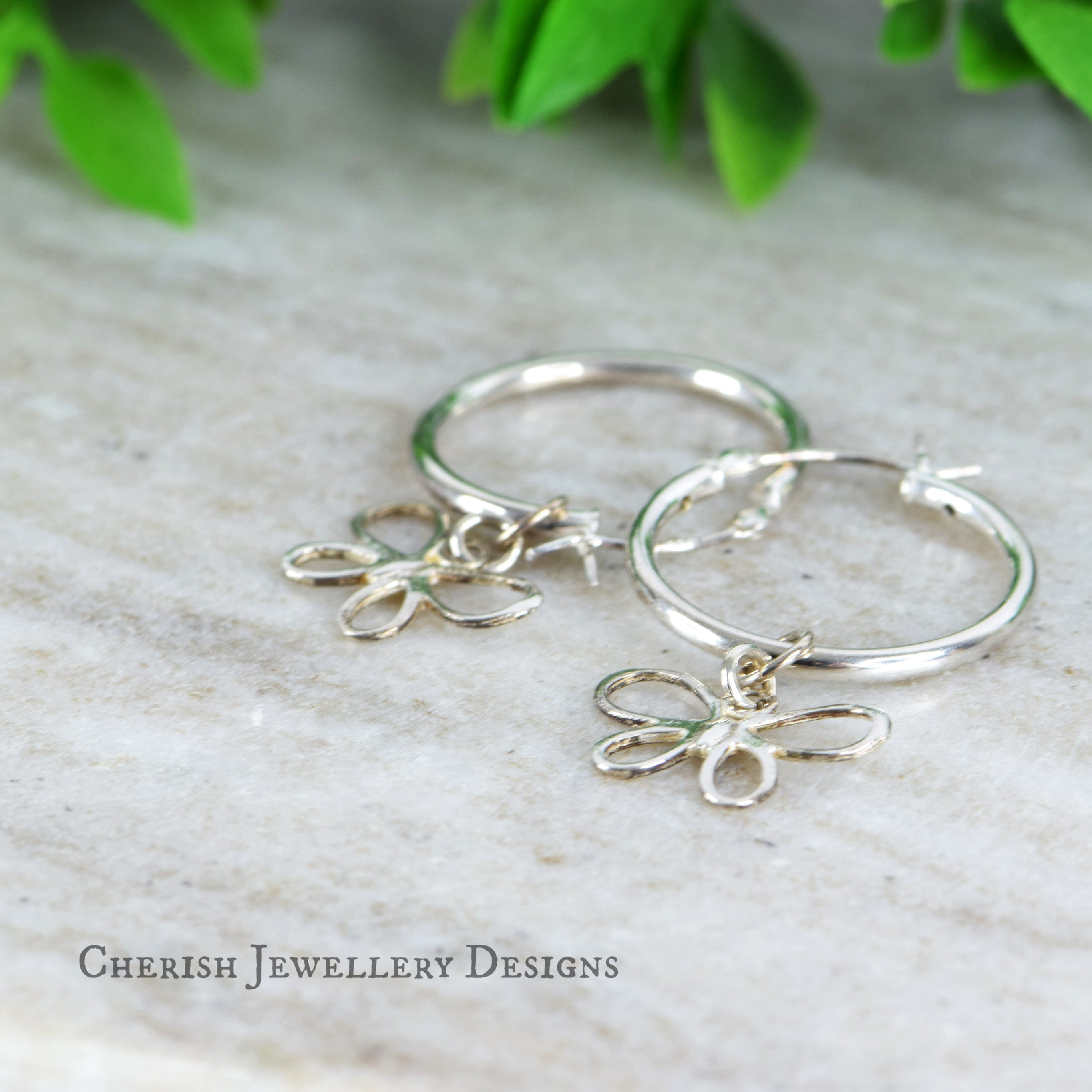 Butterfly Lge Hoop Earrings - Sterling Silver