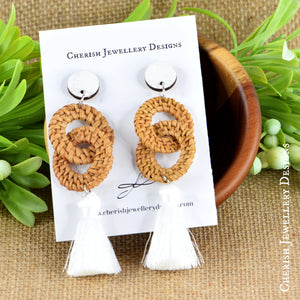 Double Rattan Tassel Earrings - White