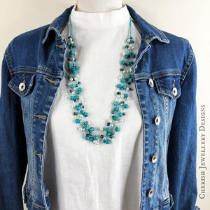 Elena Pearl & Gemstone Necklace - Turquoise