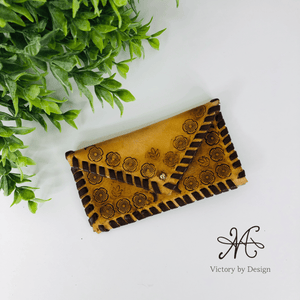 Hand stamped Genuine Leather Clutch and Card Purse