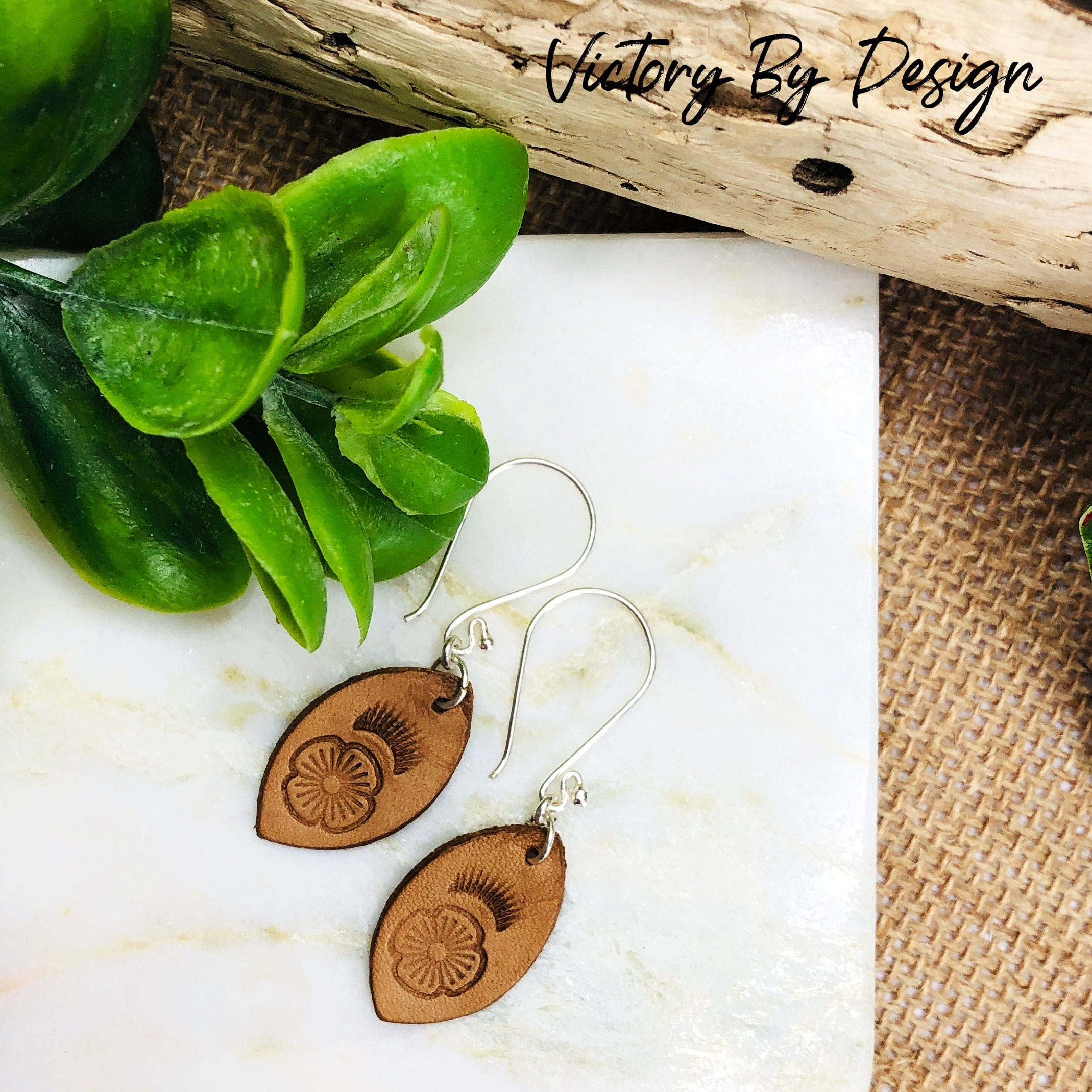 Small Leaf Leather Earrings with Flower Design