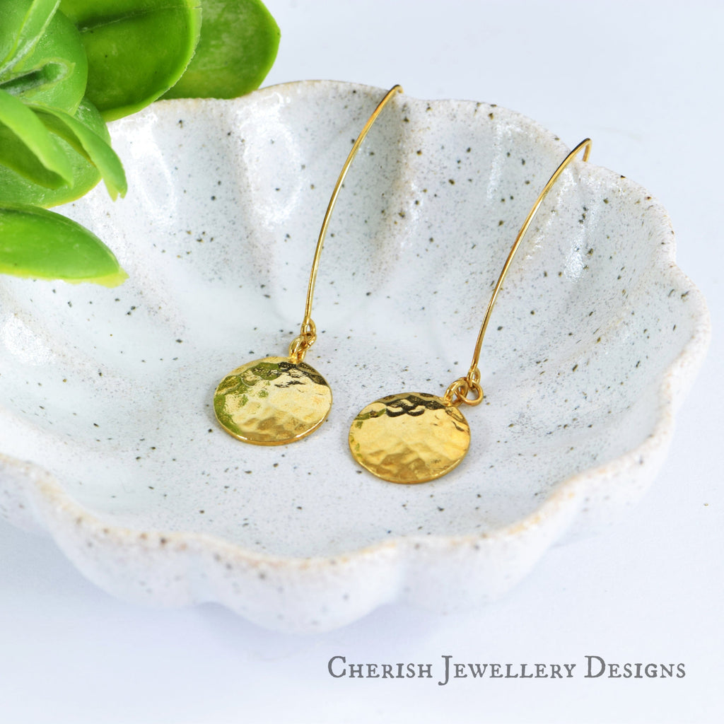 Hammered Disc Marquise Earrings - Vermeil Gold