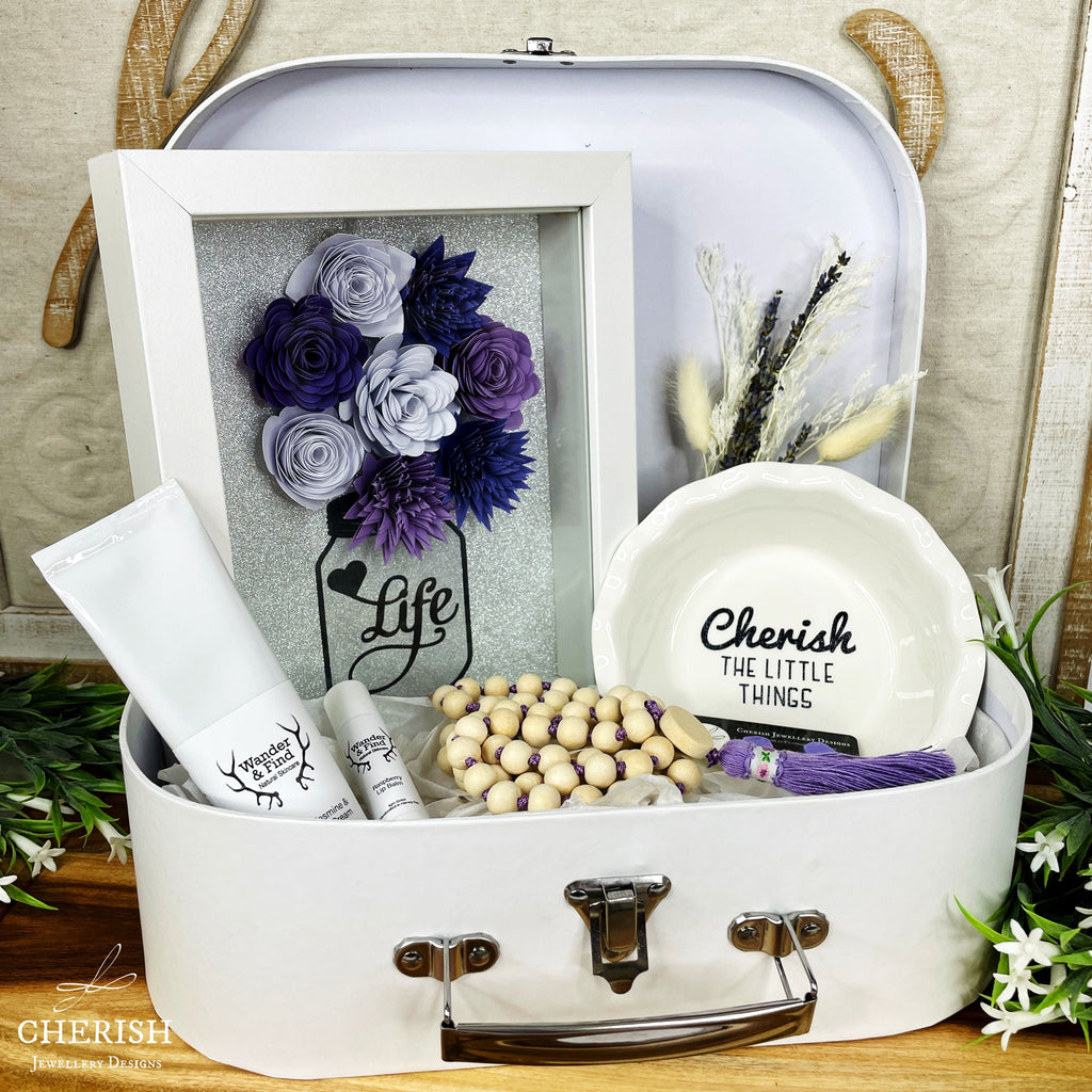 Large White Suitcase Gift Box