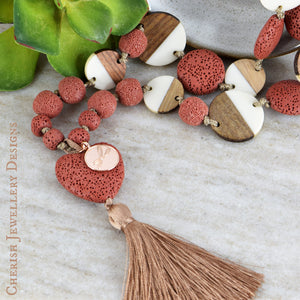 Lava Heart Dotty Necklace - Dusty