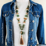 Lava Heart Dotty Necklace - Olive