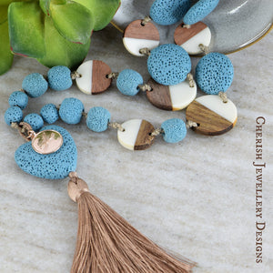 Lava Heart Dotty Necklace - Turquoise