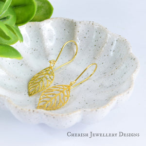 Leaf Earrings - Vermeil Gold
