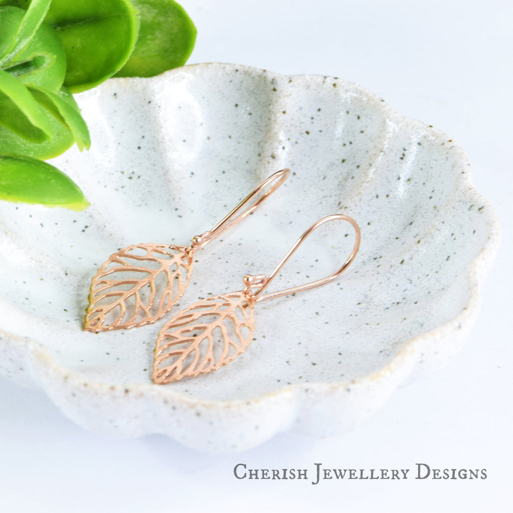 Leaf Earrings - Rose Gold