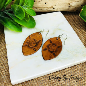 Lg Leaf Leather Earrings with Flower Design