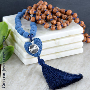 Lava Heart Mala Necklace - Marine