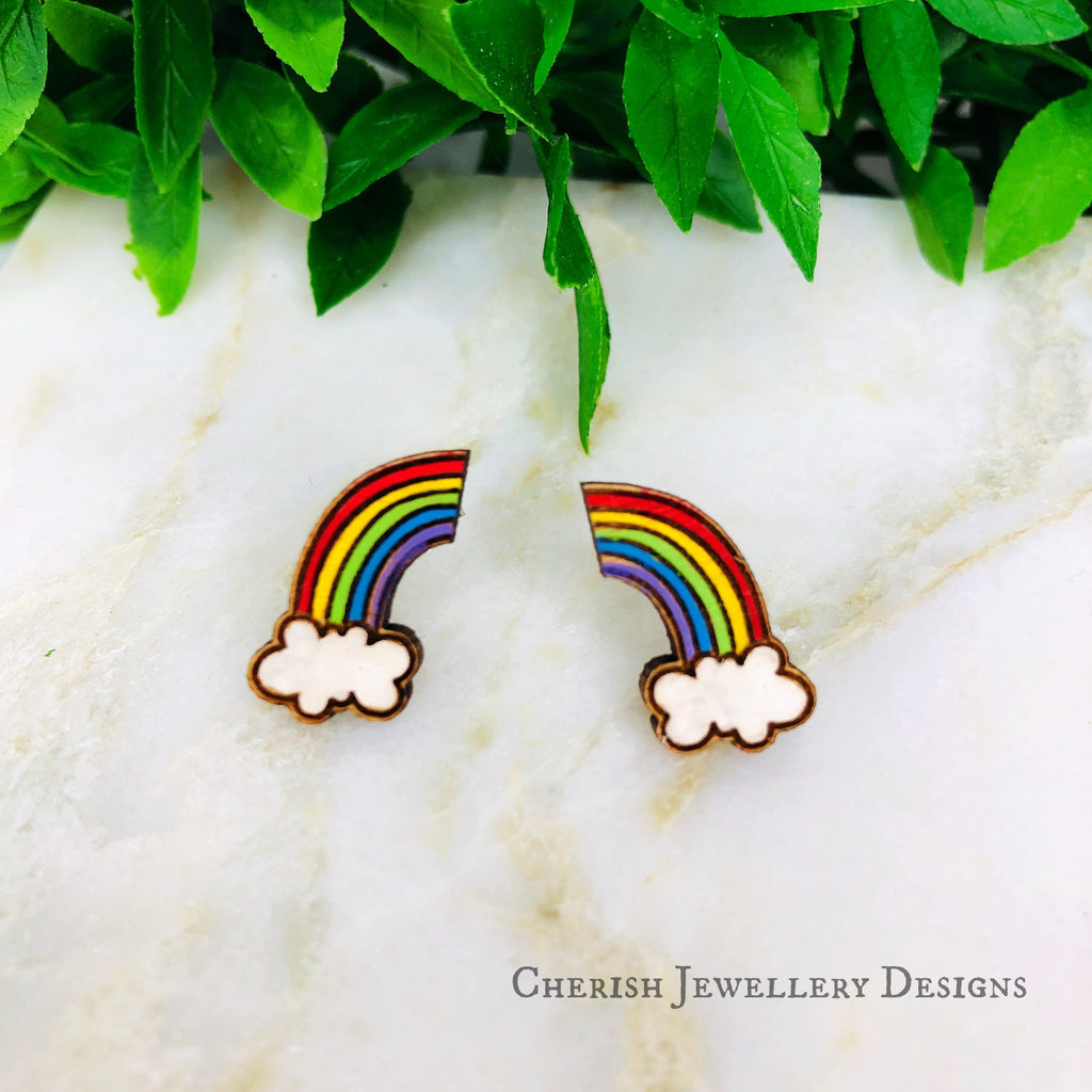 Mini Rainbow & Cloud Stud Earrings